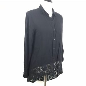 Nicole by Nicole Miller Button Down High Low Top